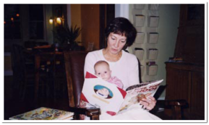 Me reading to my granddaughter, Pearl